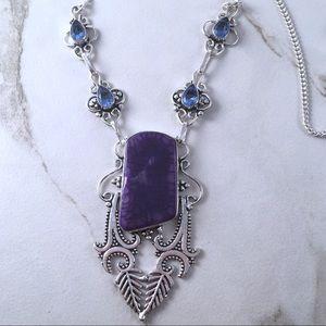 New! Purple Solar Quartz & Iolite Quartz Necklace